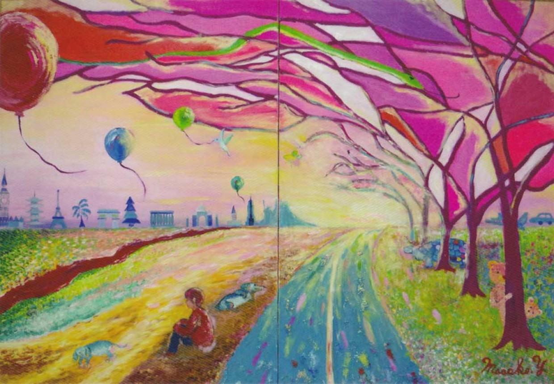 「夢のランニングロード」 吉野美子 油彩